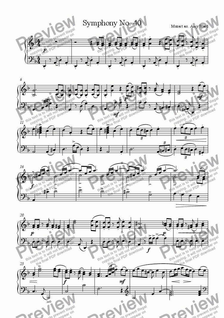 page one of Symphony No. 40 (Allegro)