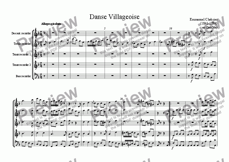 page one of Danse Villageoise