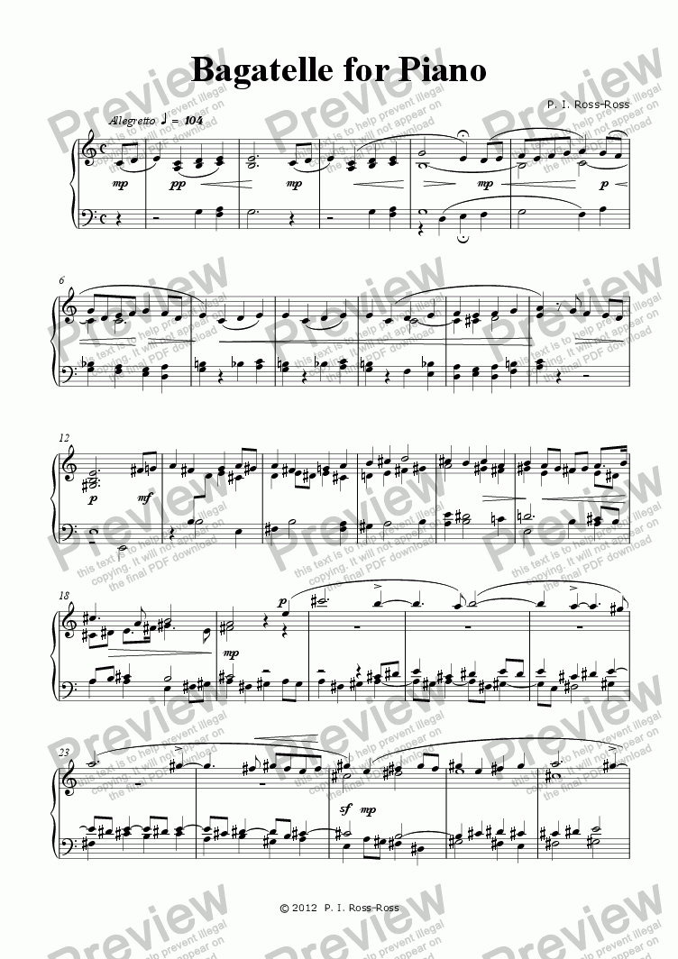 page one of Bagatelle for Piano