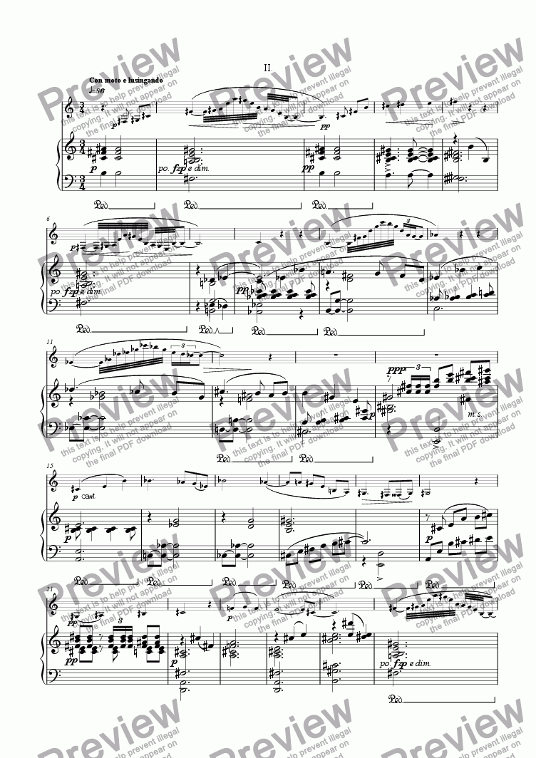 page one of Clarinet Concerto - II [*B flat cl, pno]