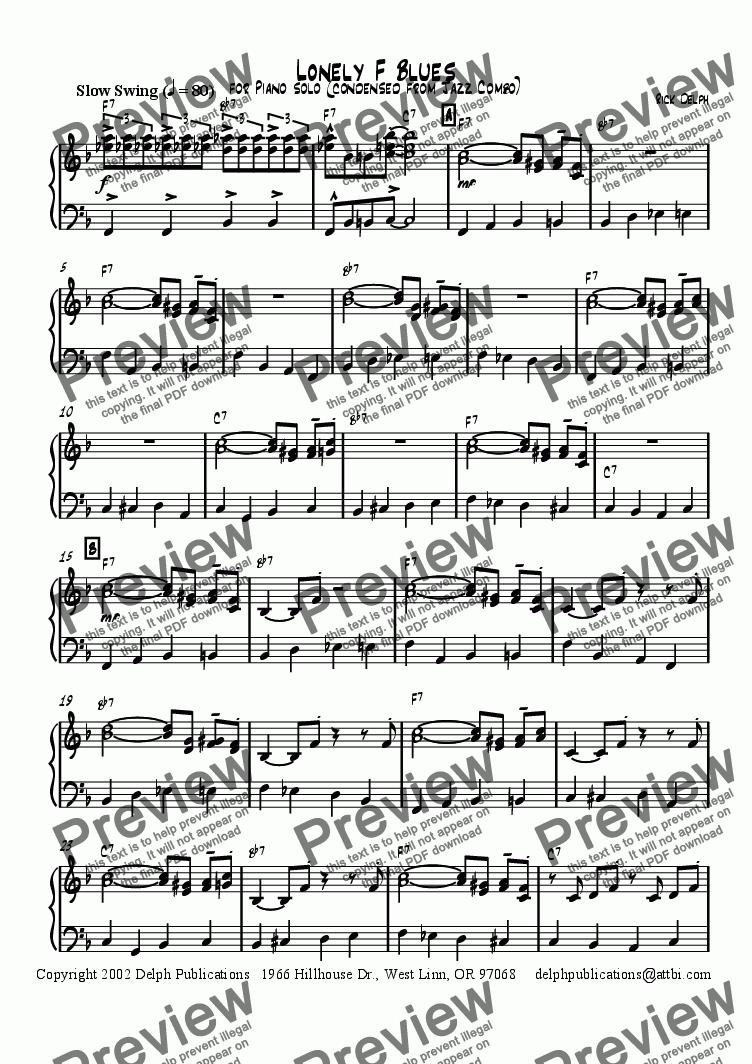 page one of Lonely F Blues (Piano Solo)