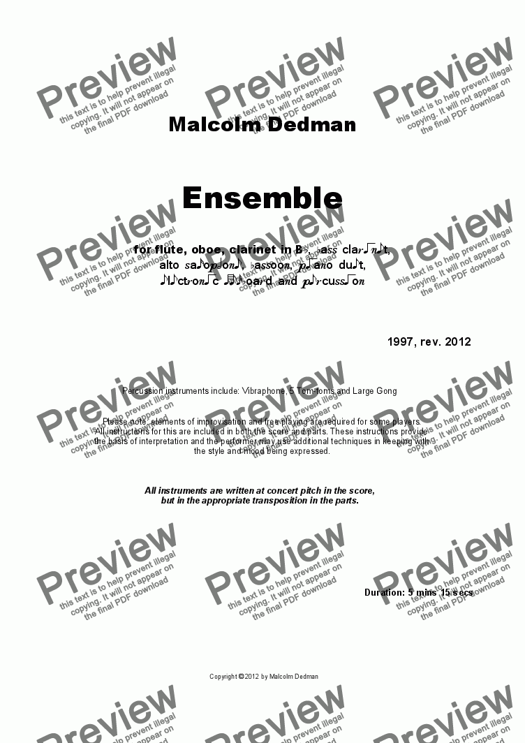 page one of Ensemble