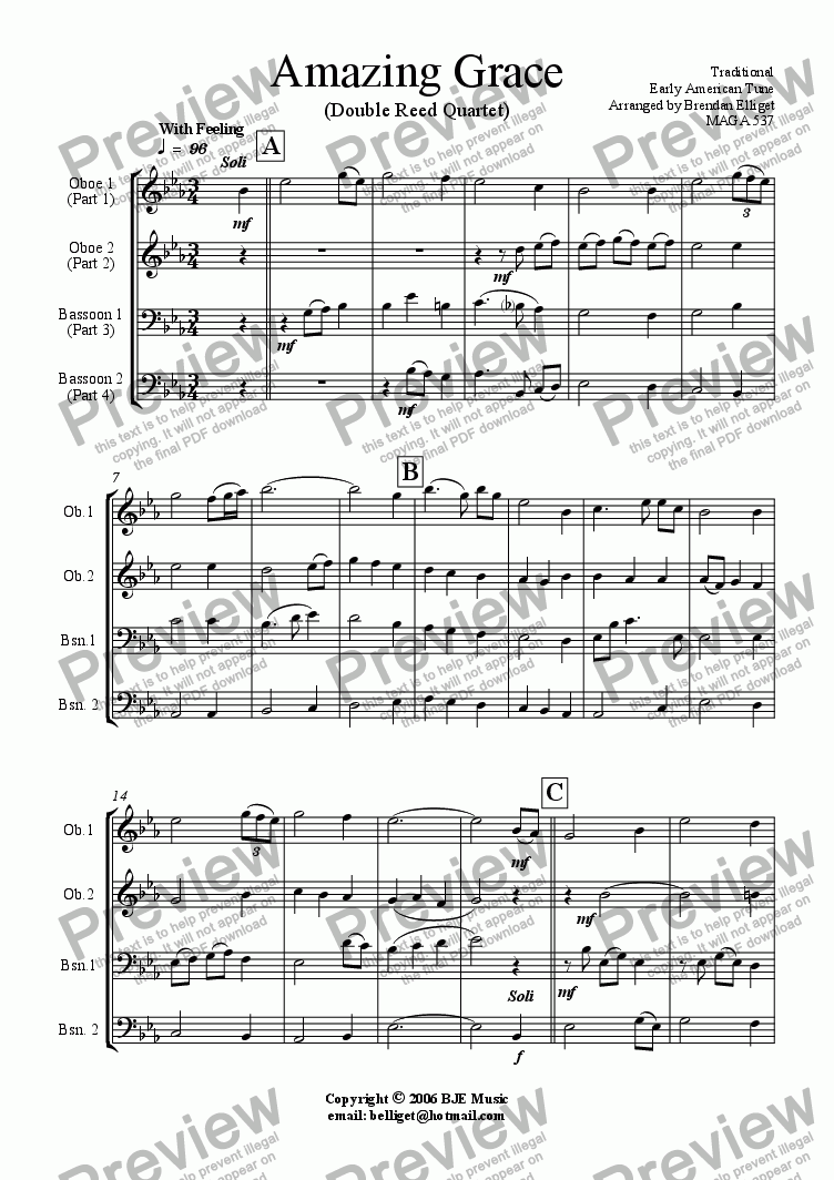 page one of Amazing Grace - Double Reed Quartet