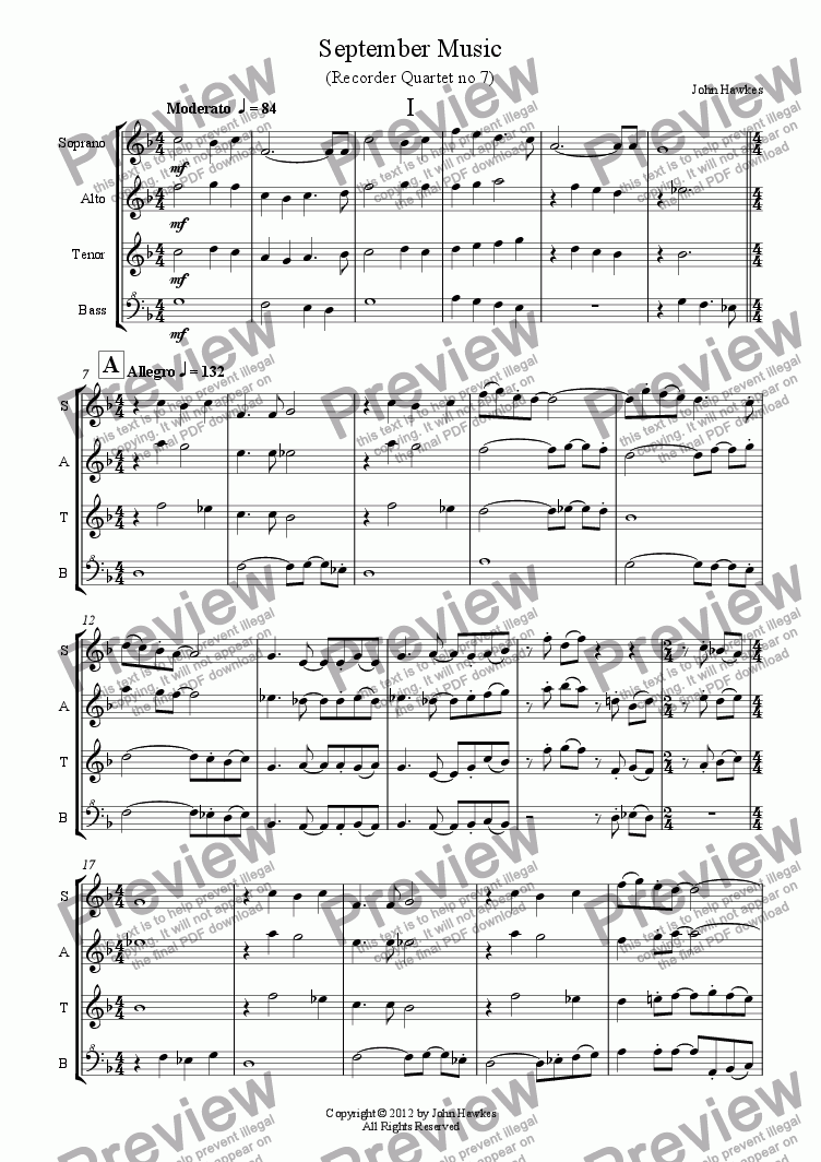 page one of Recorder Quartet no 7 (September Music)