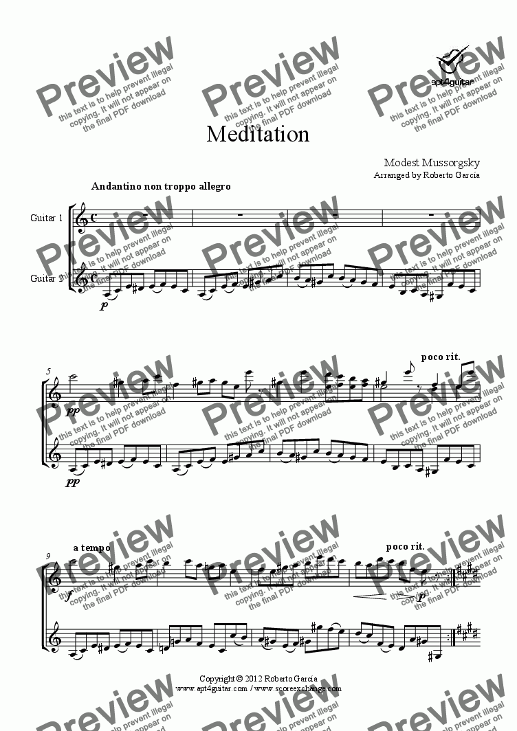 page one of Meditation for guitar duet