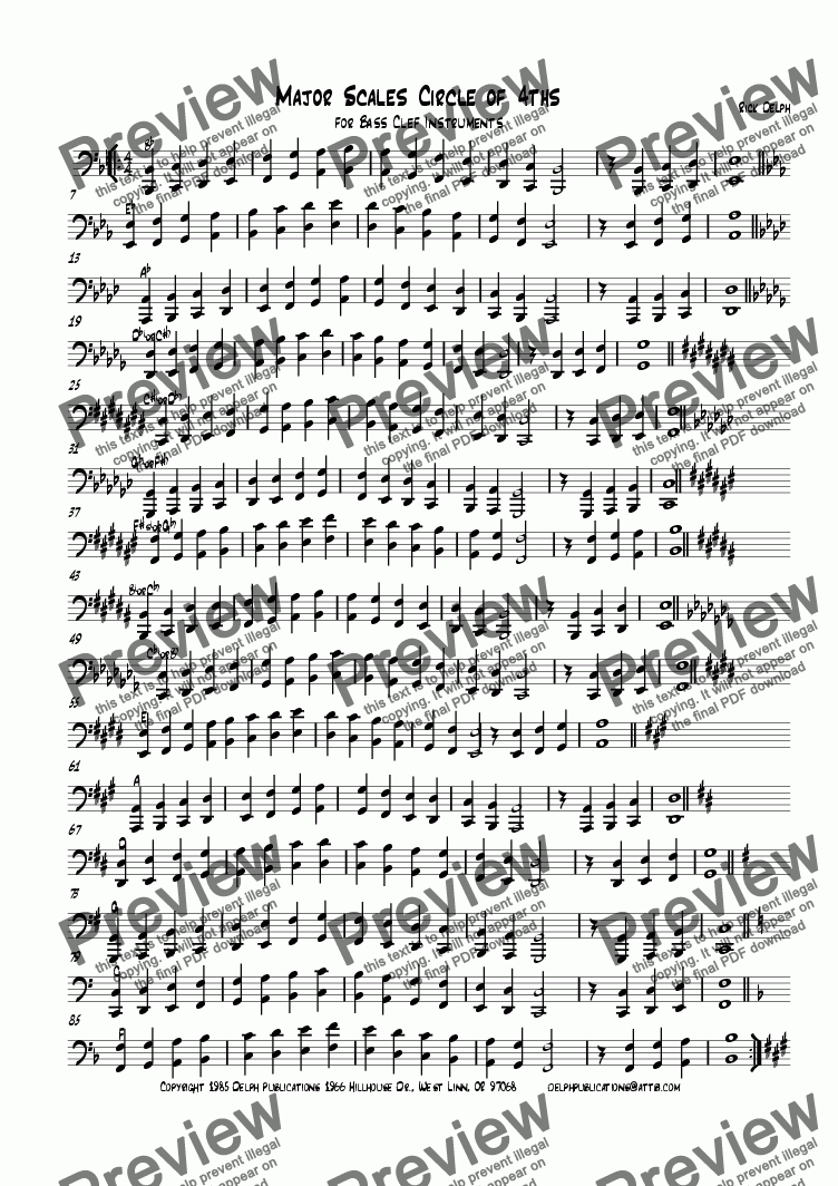 page one of Major Scales Circle of 4ths for Bass Clef Instruments