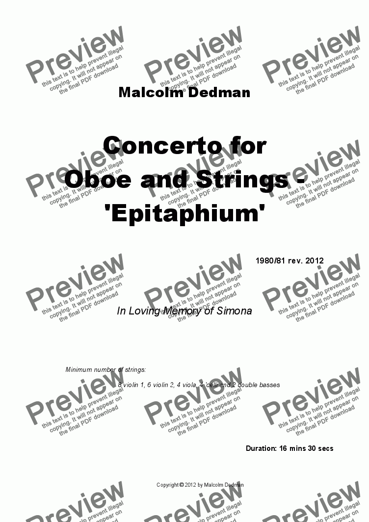 page one of Concerto for Oboe and Strings - 'Epitaphium'