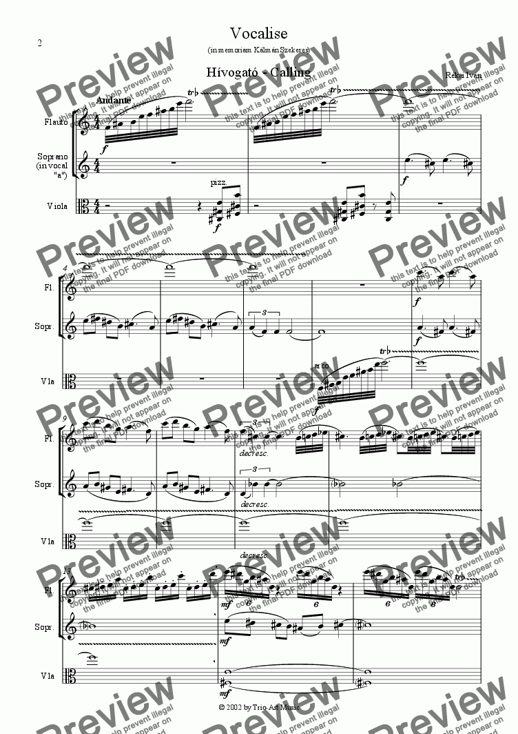 page one of Vocalise - Calling - for flute, vocal and viola