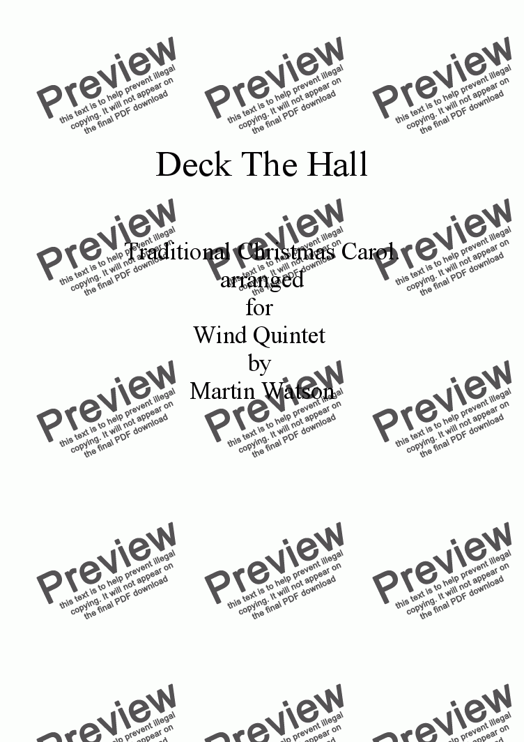 page one of Deck The Hall for Wind Quintet