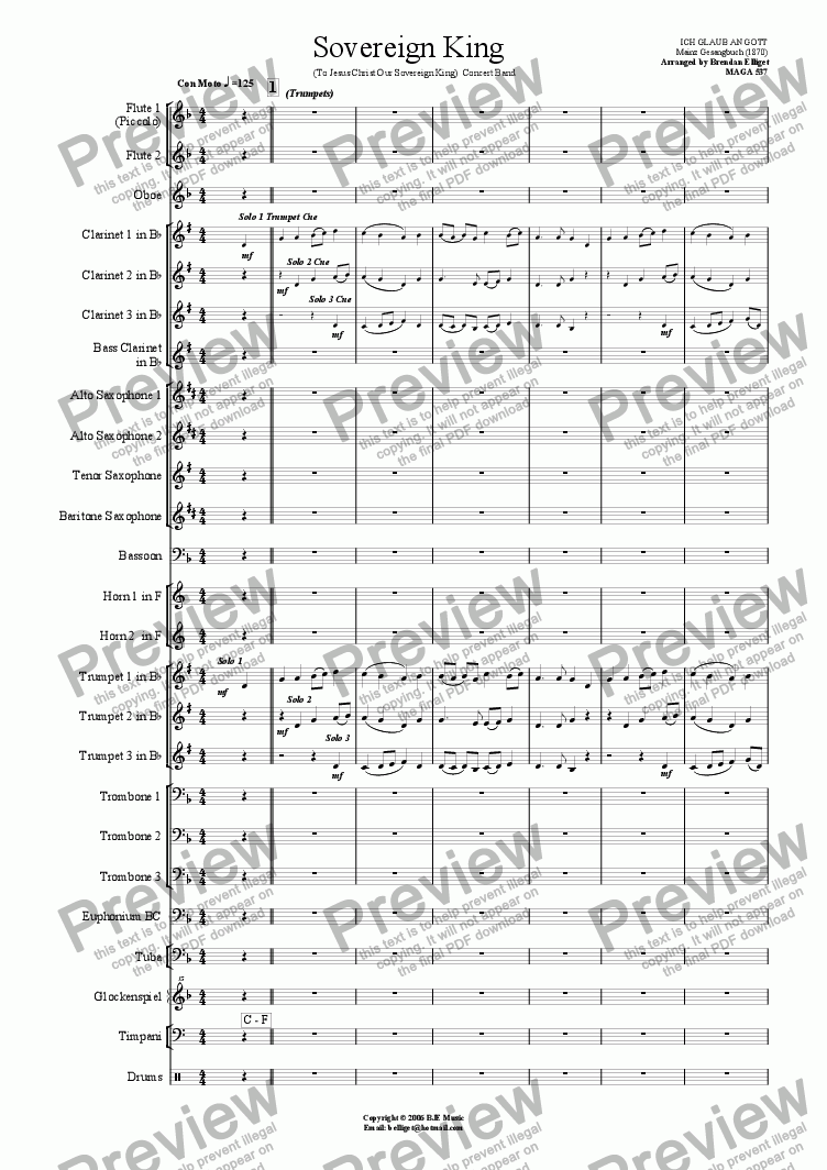page one of Sovereign King  (To Jesus Christ Our Sovereign King) - Concert Band