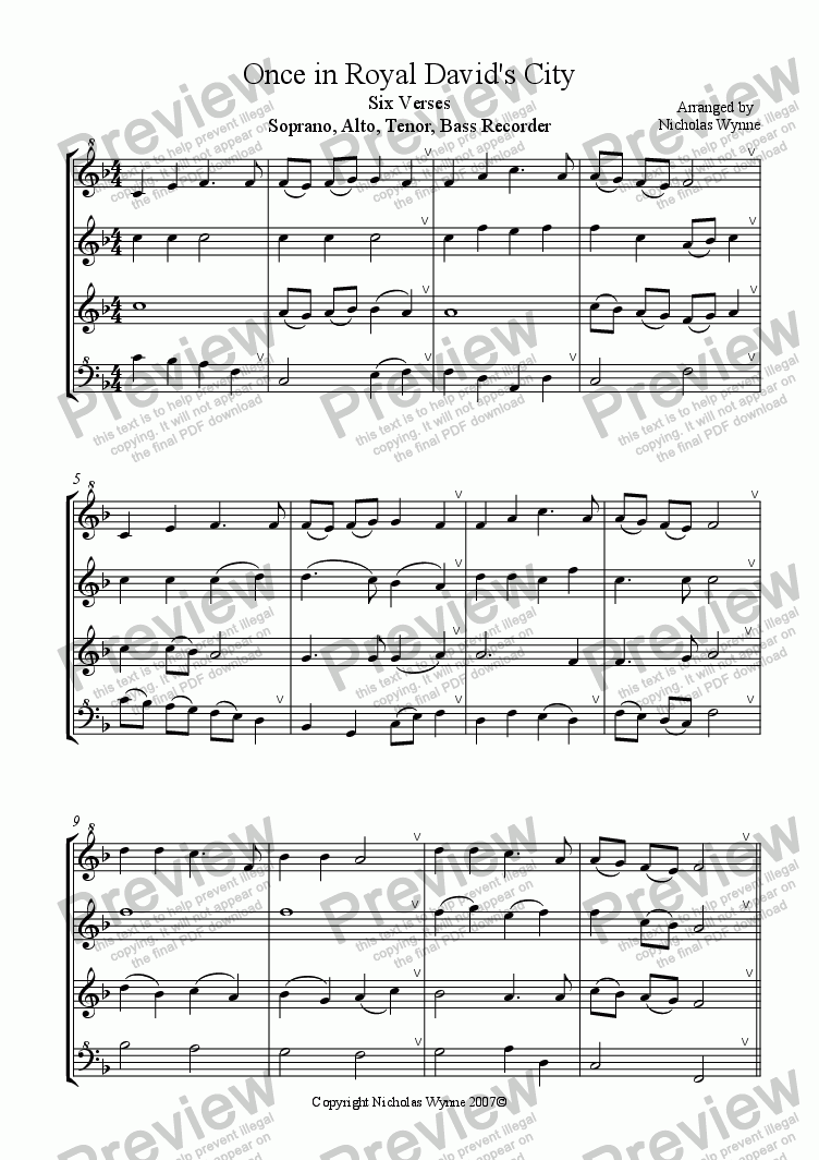 page one of Once in Royal David's City for Recorder quartet
