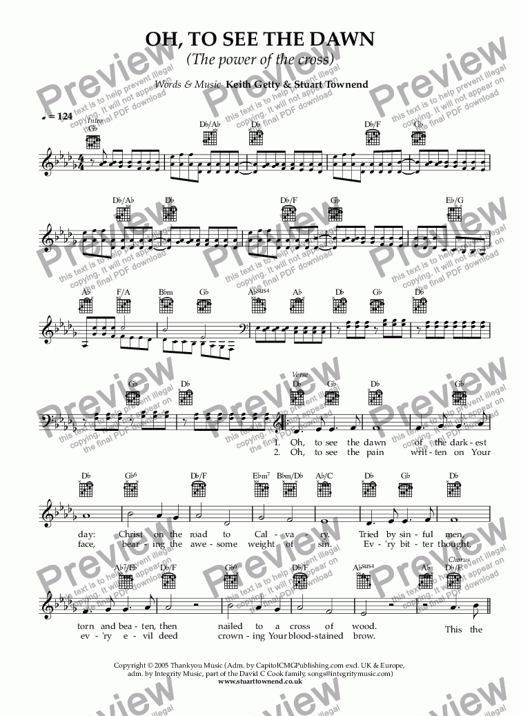 Oh To See The Dawn The Power Of The Cross For Solo Instrument Voice By Keith Getty Stuart Townend Sheet Music Pdf File To Download