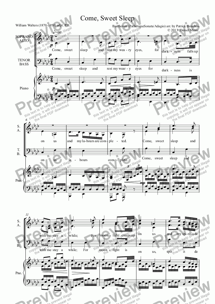 page one of Come, Sweet Sleep (Beethoven: Adagio from Pathetique Sonata)ASALTTEXT