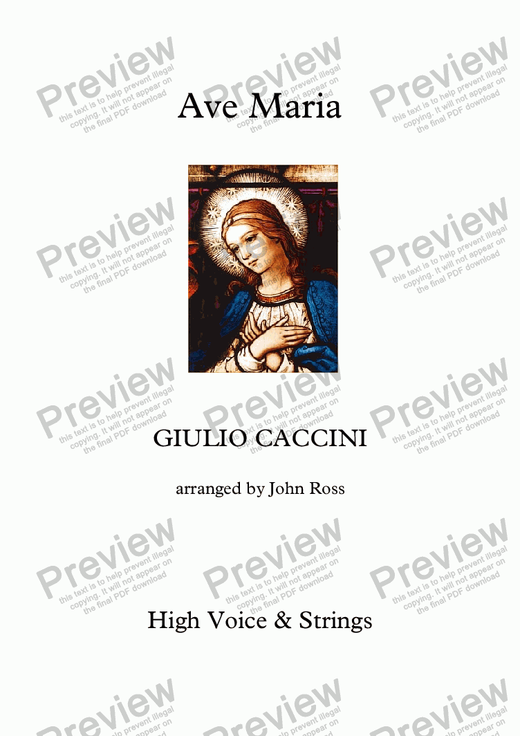page one of Ave Maria (Caccini) (High voice, Strings)