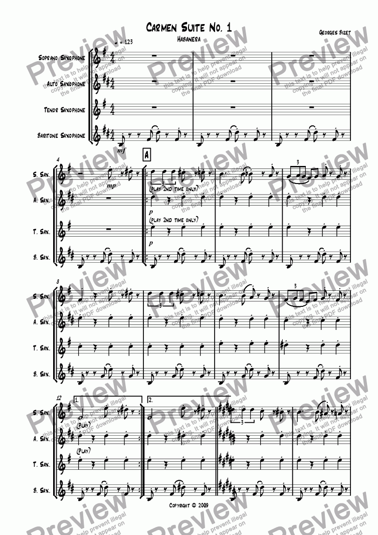 page one of Carmen Suite No. 1ASALTTEXT