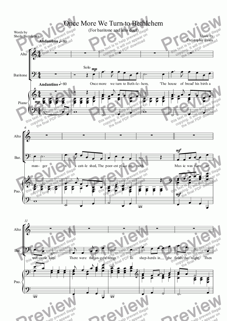 page one of Once More We Turn to Bethlehem-Duet for Contralto & Baritone
