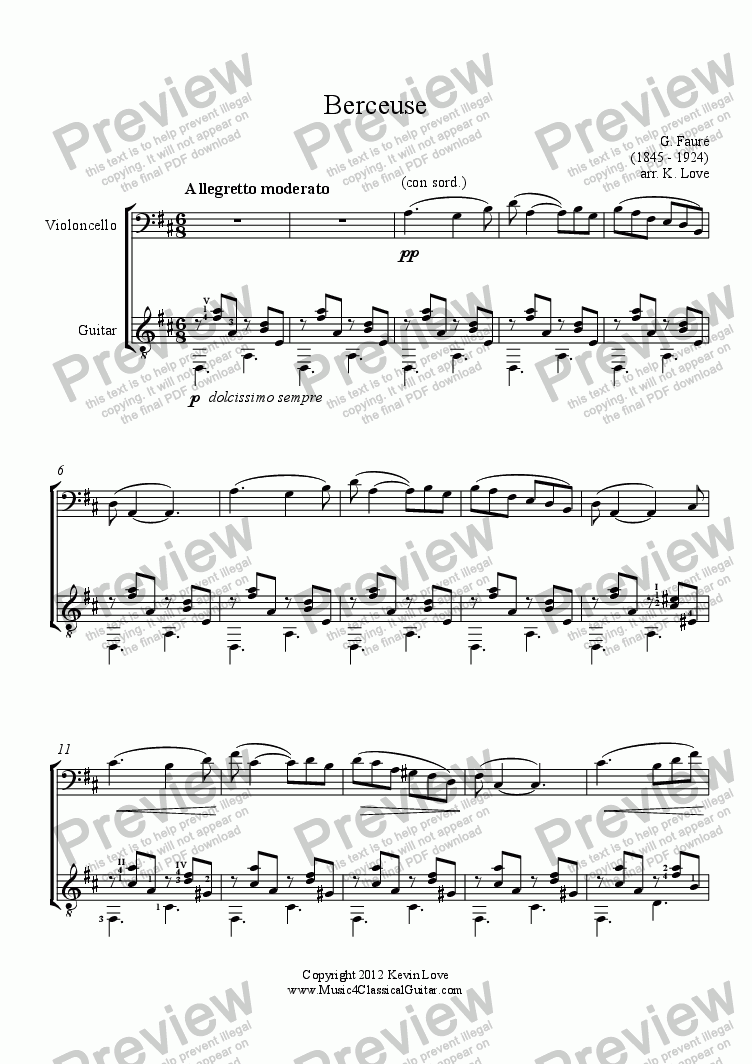 page one of Berceuse (Cello and Guitar)
