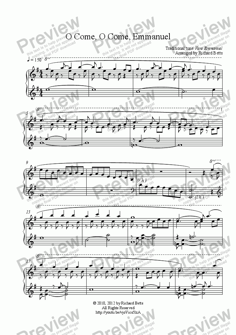 O Come O Come Emmanuel Christmas Carol Hymn Piano Solo Buy Pdf