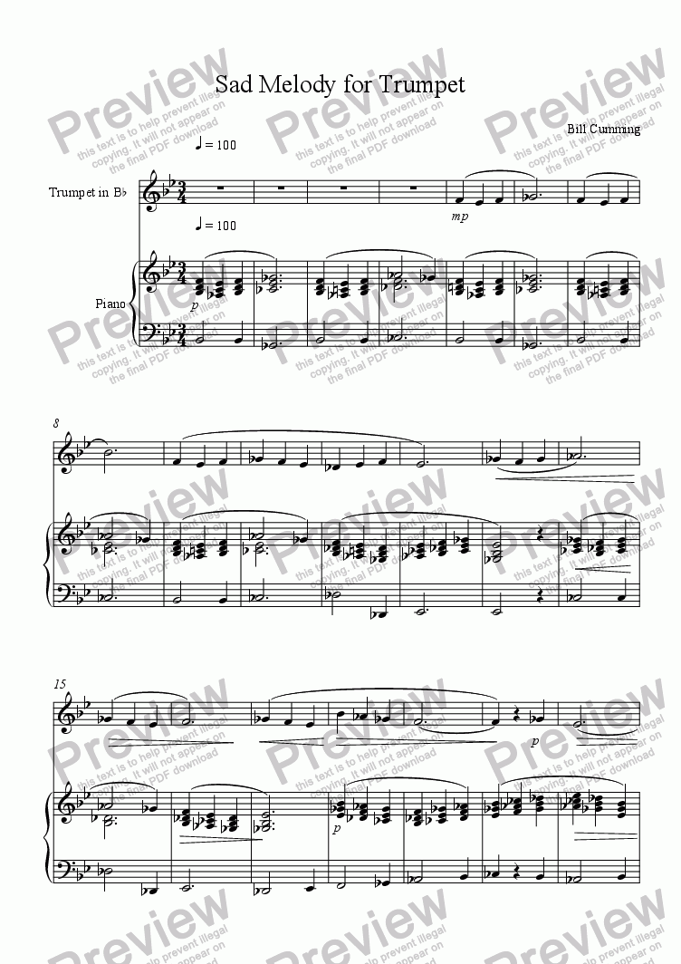 Sad Melody for Trumpet for Solo Trumpet in Bb + piano by Bill Cumming -  Sheet Music PDF file to download