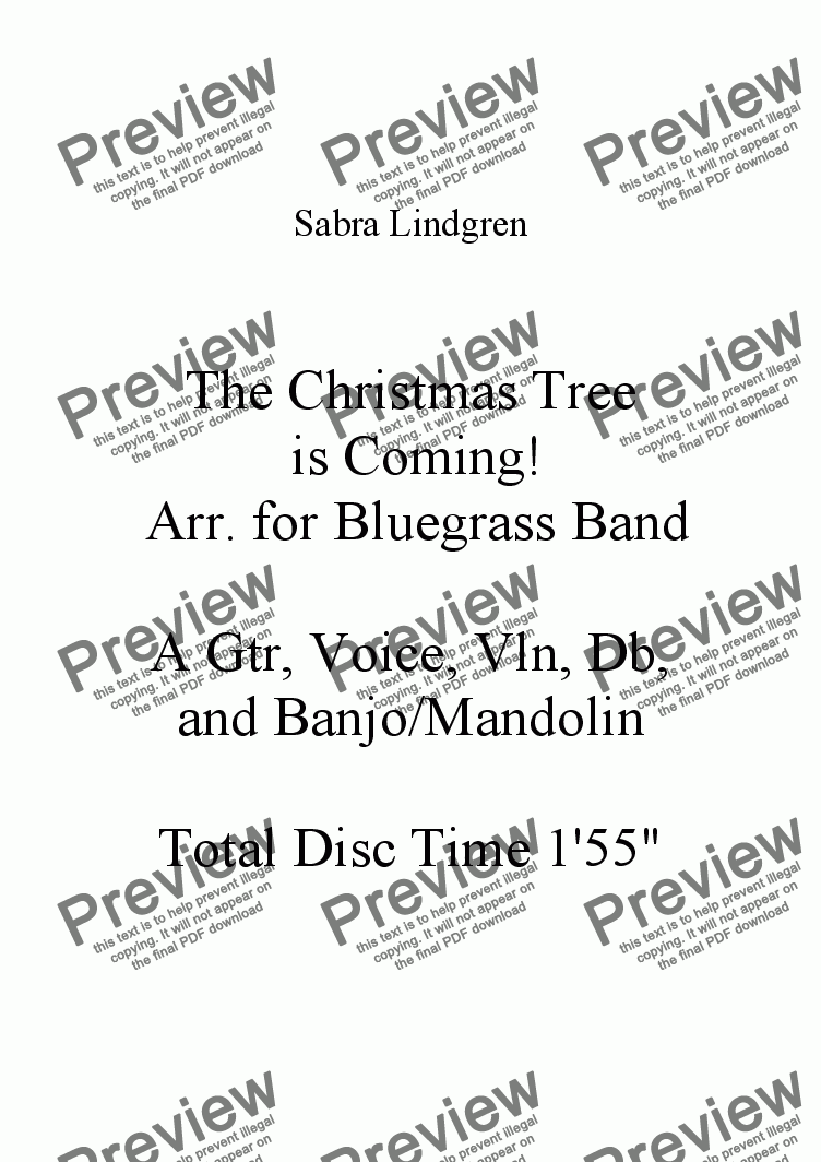 page one of The Christmas Tree is Coming!  Arr. for Bluegrass Band