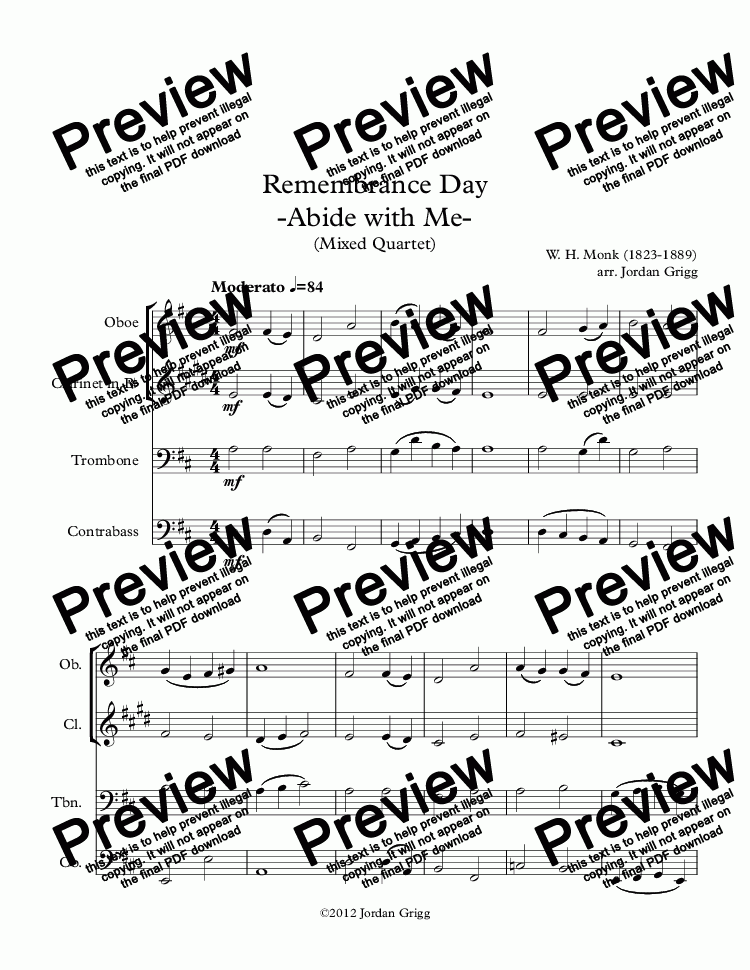 page one of Remembrance Day -Abide with Me- (Mixed Quartet)