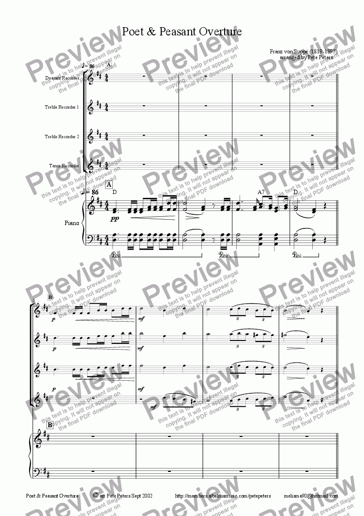page one of Poet & Peasant Overture [Suppe]Recorder or Flute 4tet+pno