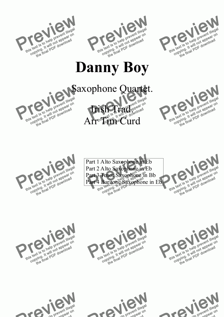 page one of Danny Boy. Saxophone Quartet- Score and partsASALTTEXT