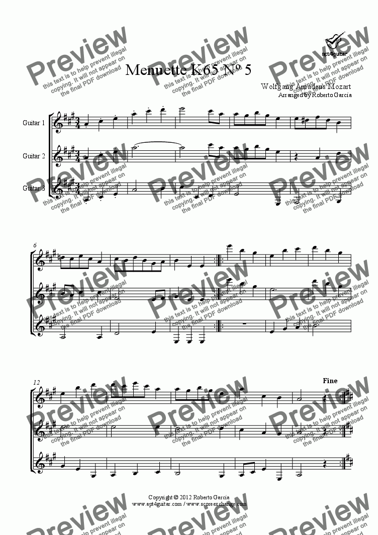 page one of Menuette K65 Nº 5 for guitar trio