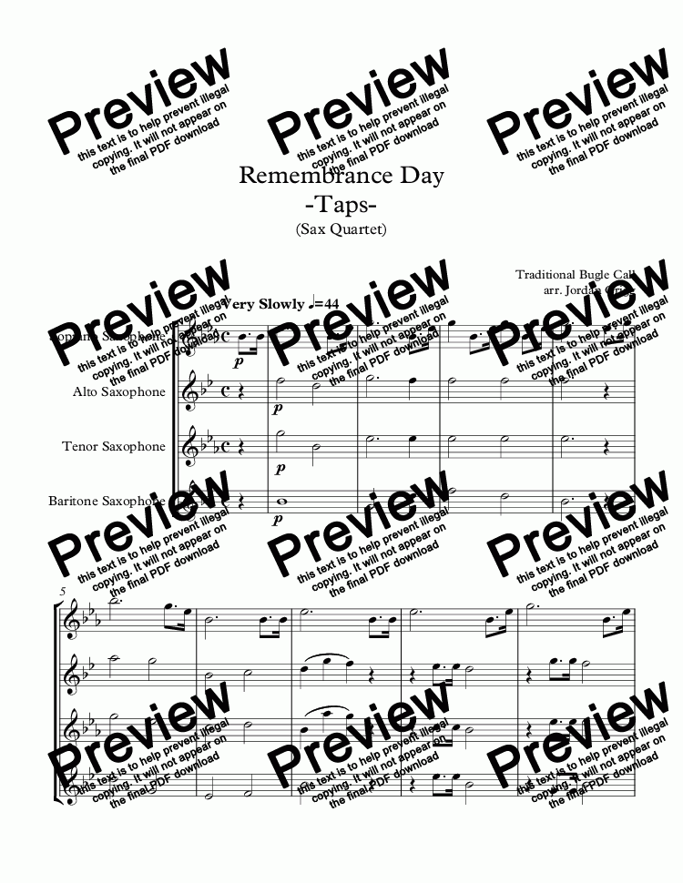 page one of Remembrance Day -Taps- (Sax Quartet)