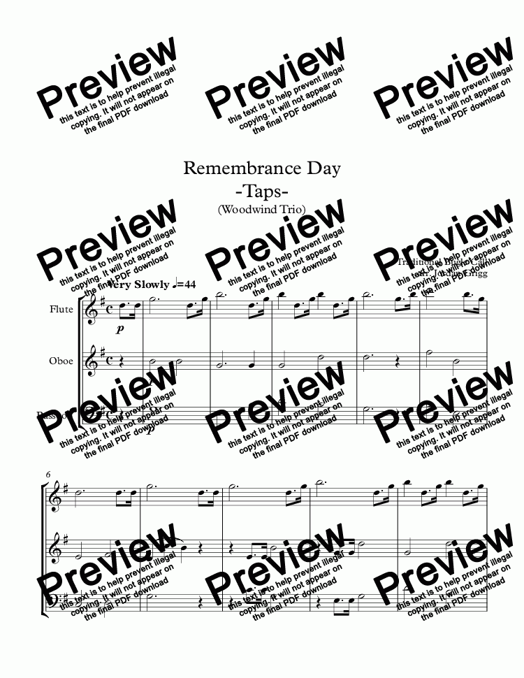 page one of Remembrance Day -Taps- (Woodwind Trio)ASALTTEXT