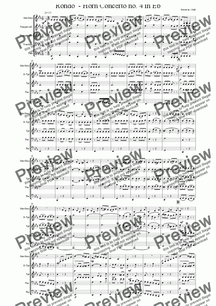 page one of Rondo from Horn Concerto no. 4