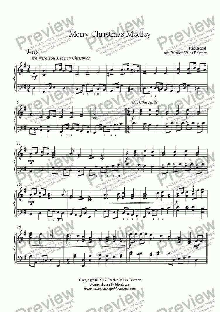 Merry Christmas Medley (piano solo) - Download Sheet Music PDF file