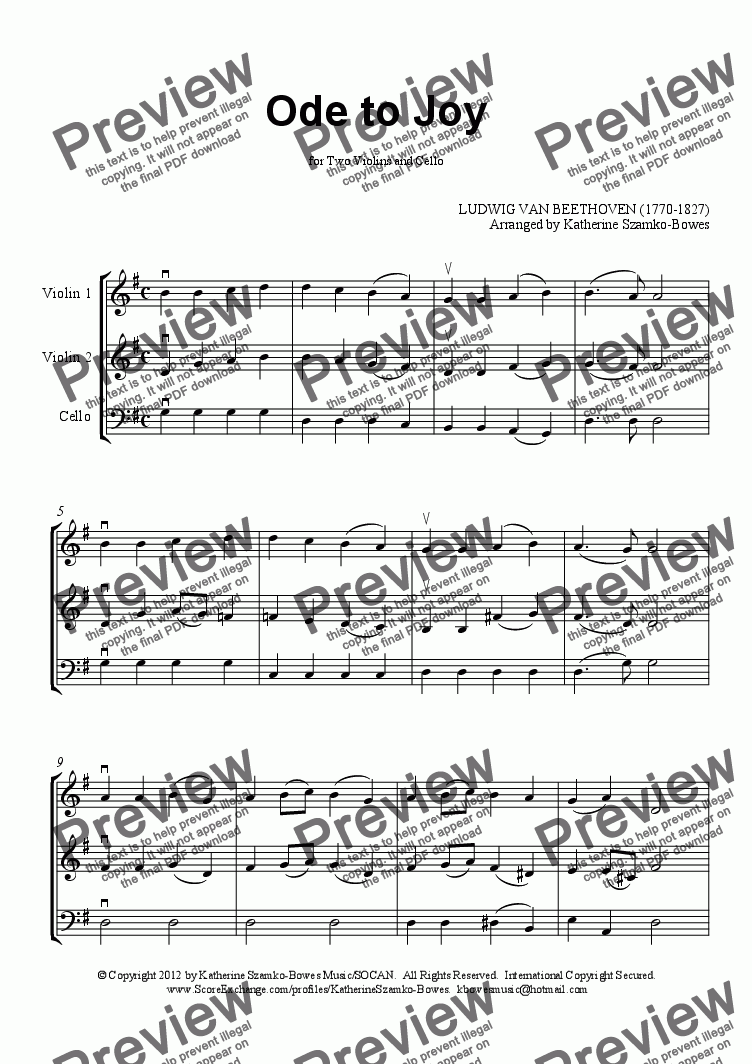 page one of Ode to Joy (String Trio: 2 violins/cello)