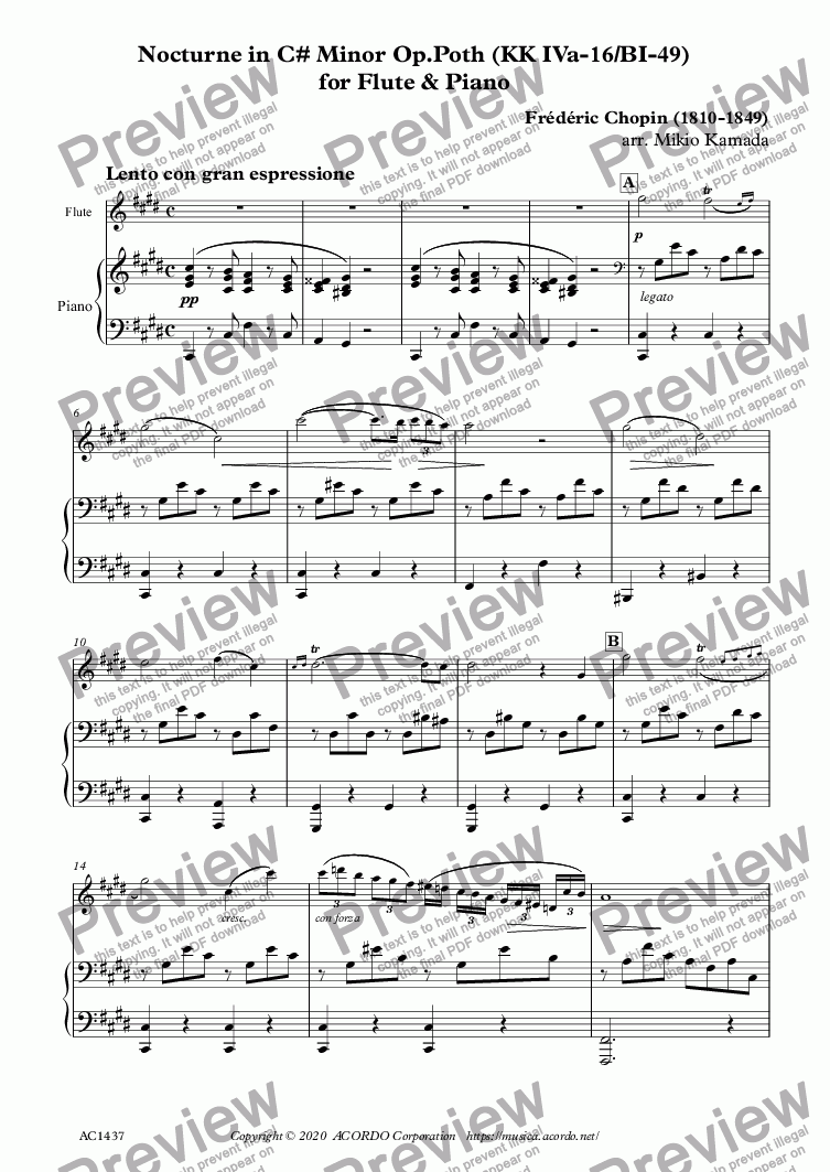 page one of Nocturne in C# Minor Op.Poth (KK IVa-16/BI-49) for Flute & PianoASALTTEXT