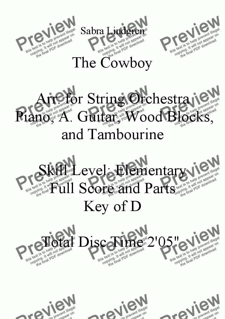 page one of The Cowboy for String Orchestra
