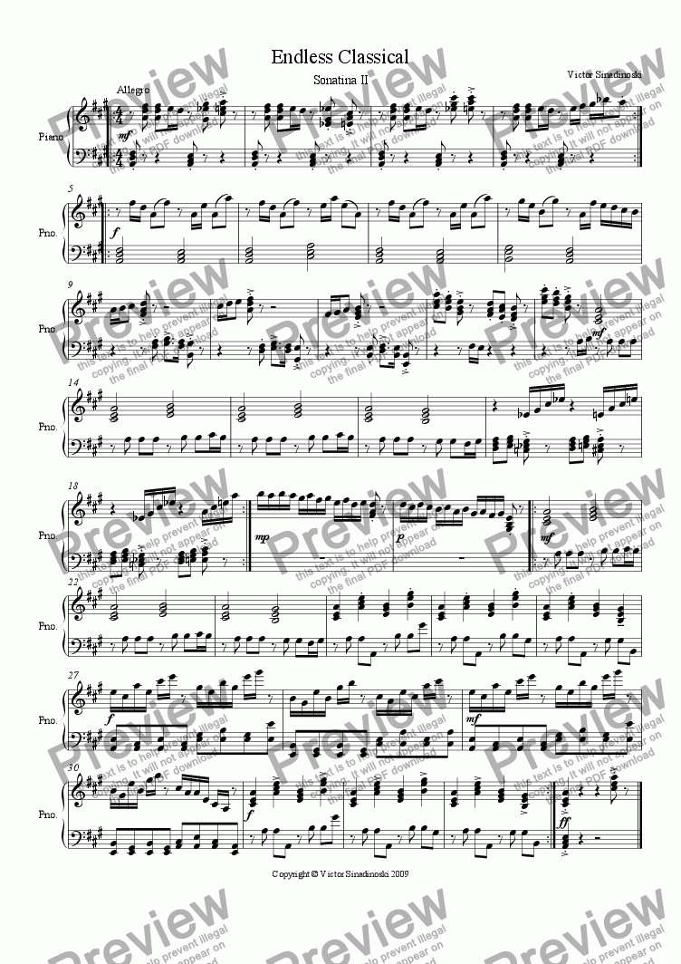 page one of Sonatina IIASALTTEXT