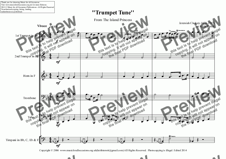 page one of Trumpet Tune from the Island Princess for Brass Quintet in Bb (Low version)
