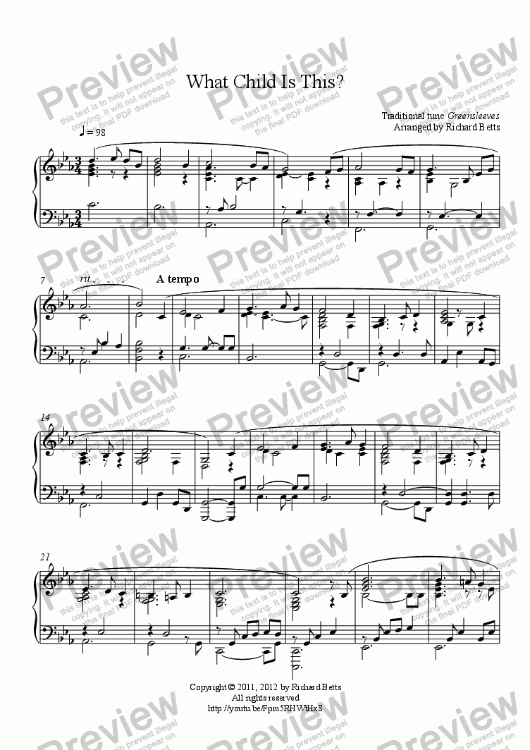 page one of What Child Is This? - Christmas Carol / Hymn Piano Solo