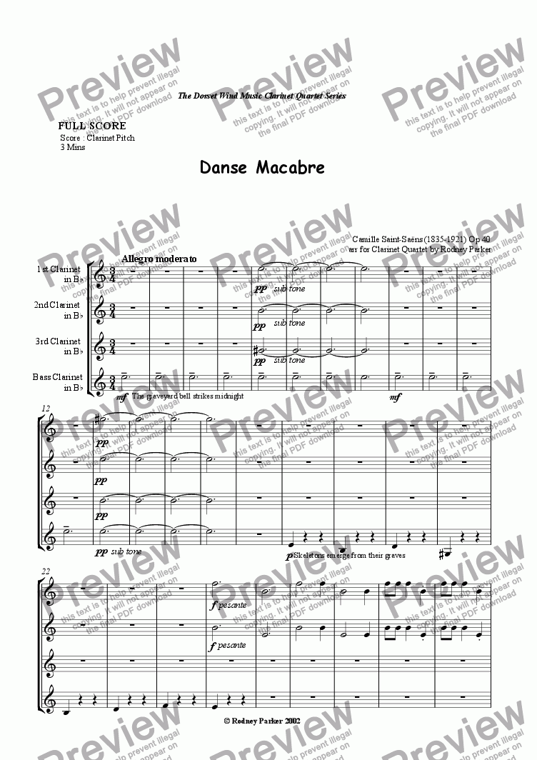 page one of Danse Macabre arr for Clarinet QuartetASALTTEXT