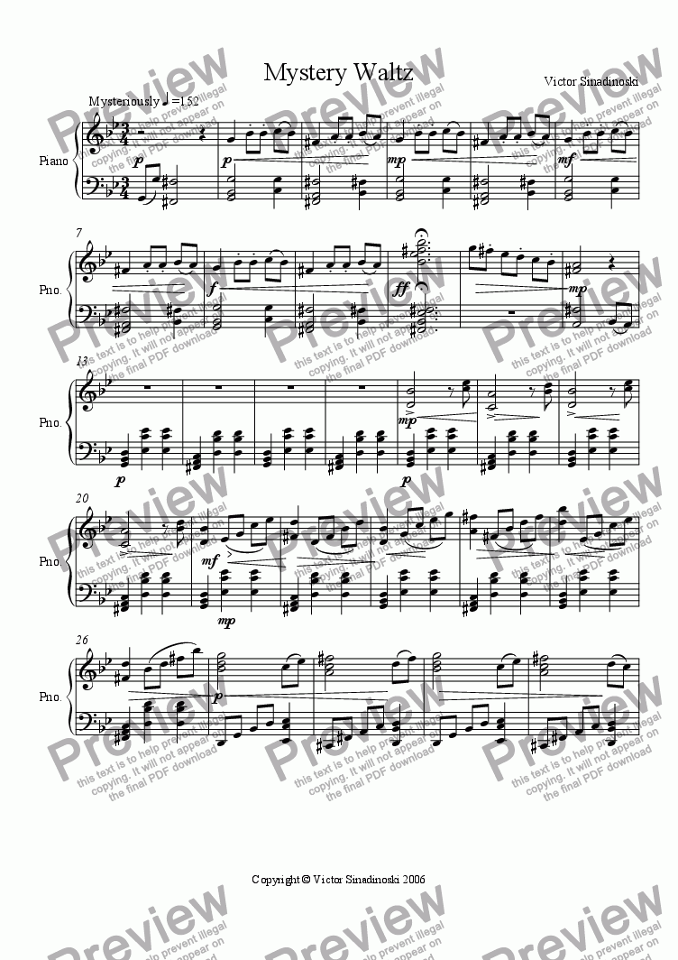 page one of Mystery Waltz
