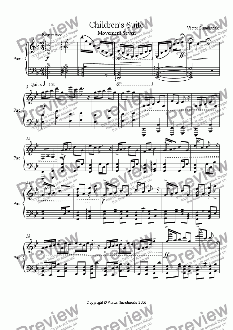 page one of Children's Suite No. 7
