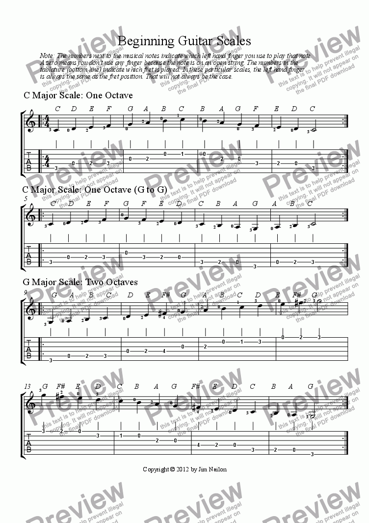 page one of Beginning Guitar ScalesASALTTEXT