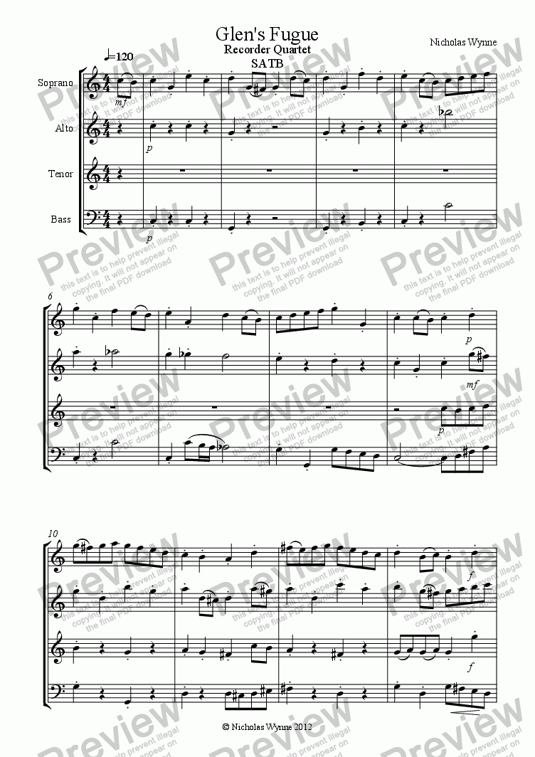 page one of Glen's Fugue for Recorder Quartet