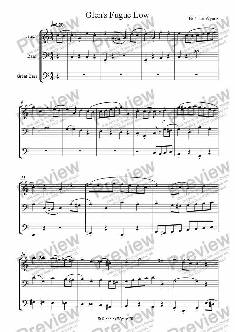 page one of Glen's Fugue for low Recorder Trio