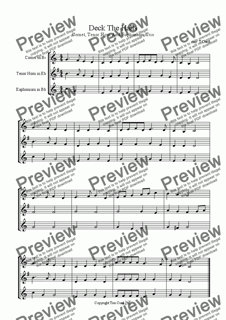 page one of Deck The Halls - Cornet, Tenor Horn, Euphonium (Brass Trio)