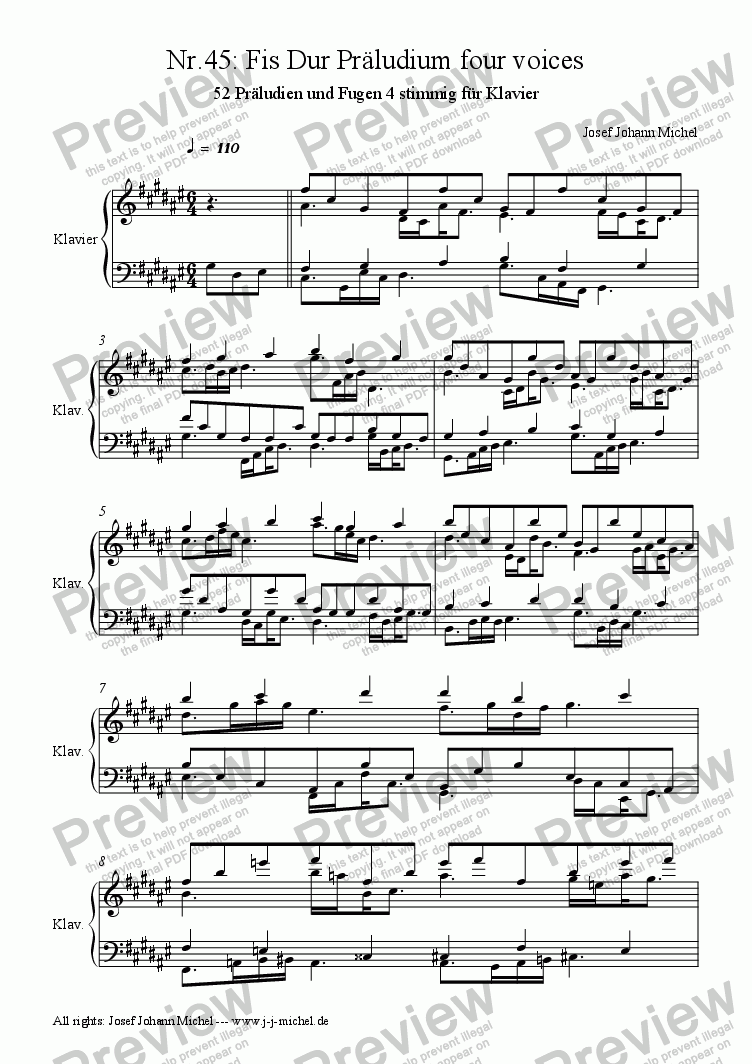 page one of Nr.45: Fis Dur Präludium four voicesASALTTEXT