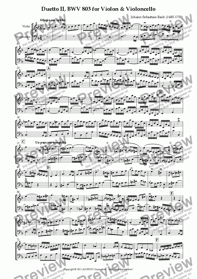 page one of Duetto II, BWV 803 for Violin & Violoncello