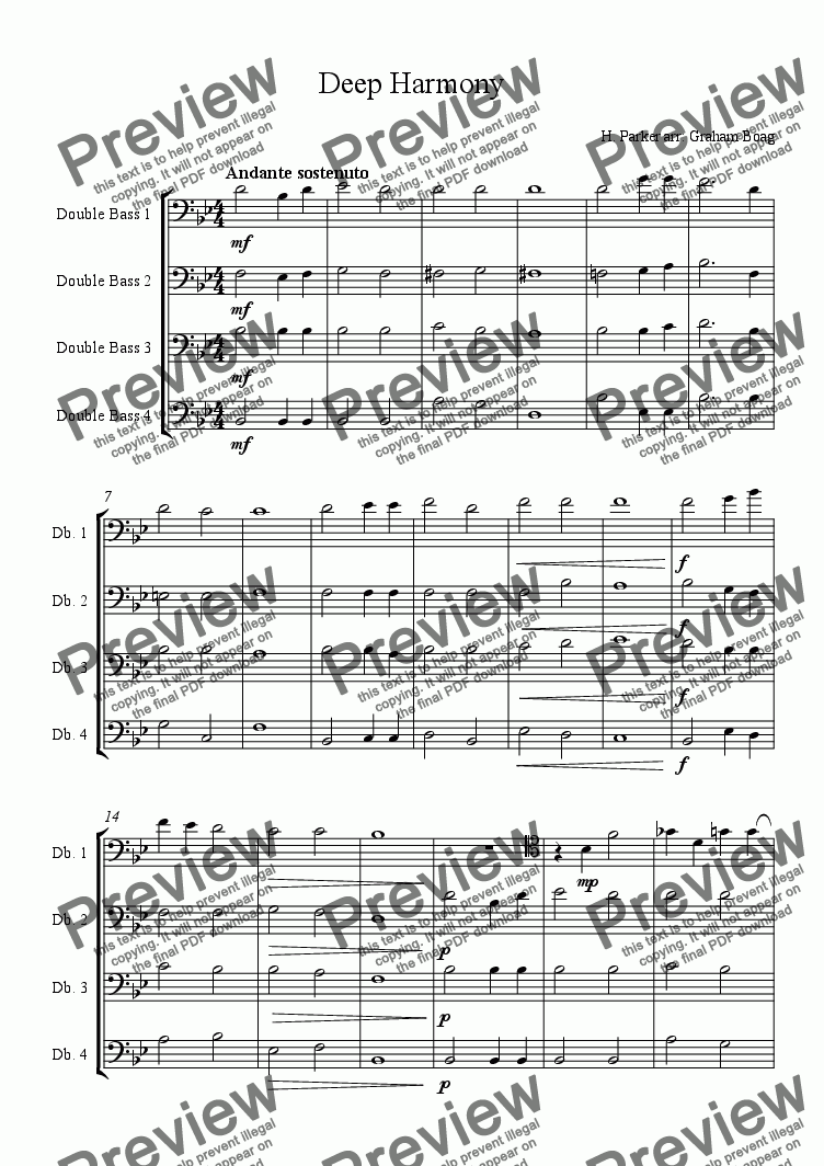 page one of Deep Harmony (for Four Double Basses)