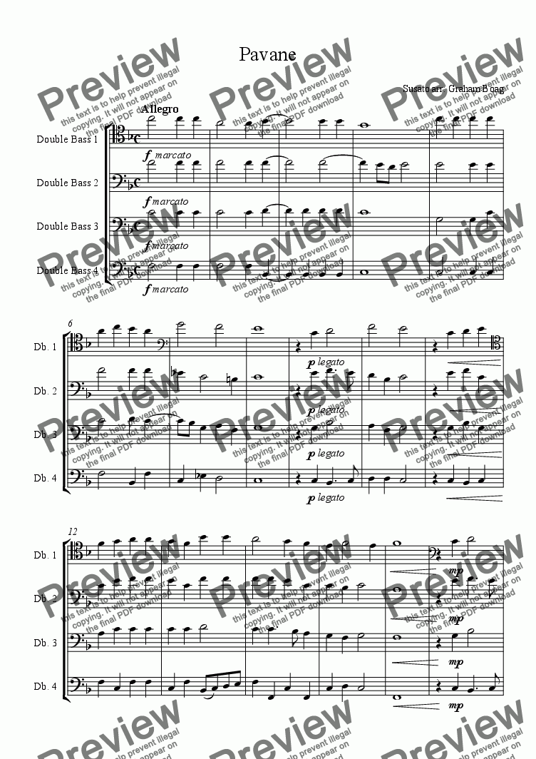page one of Pavane (for four Double Basses)