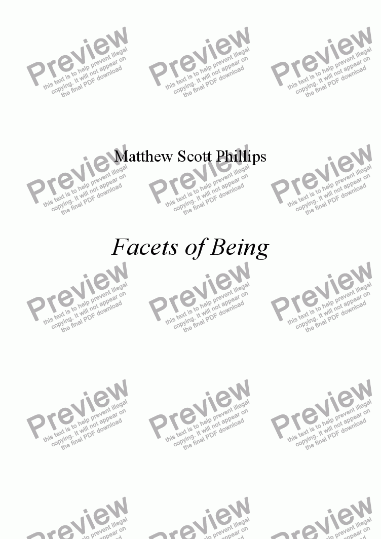 page one of Facets of Being